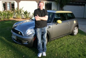 Peter Trepp of Pacific Palisades, CA, with his new Mini E