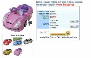 Scootercatalog.com's version of a Tesla Roadster